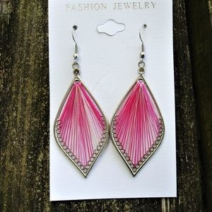 Jewelry - Pink thread earrings 2 3/4 inches long NWOT